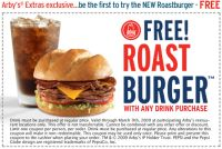 Coupon for a Free Roast Burger at Arby's