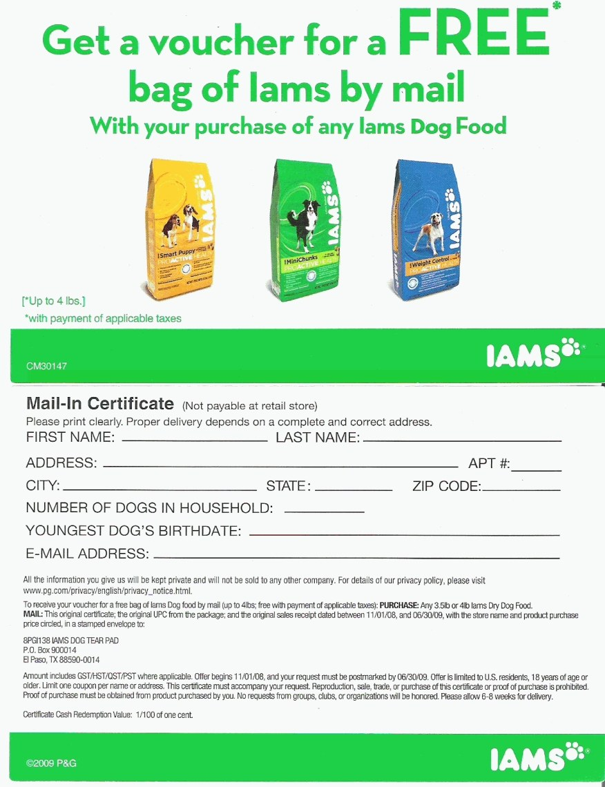 Free online coupons for dog food