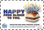 Free Original Slider at White Castle - coupon