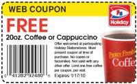 Free 20oz. Coffee or Cappuccino at Holiday Stationstores