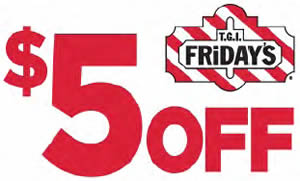 image about Tgifridays Printable Coupons referred to as TGI Fridays: $5 OFF $15 - I Crave Freebies