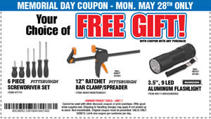 FREE Gift w/ Purchase at Harbor Freight on 5/28 - I Crave Freebies