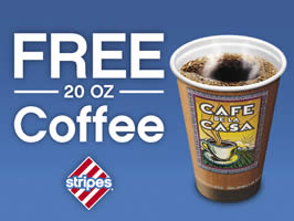 FREE 20 oz Coffee at Stripes Stores