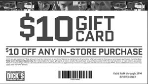 FREE $10 Dicks Sporting Goods Gift Card - I Crave Freebies