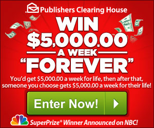 Pch sweepstakes entry 5000 a week for life