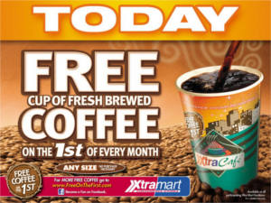 FREE Cup of Coffee at Xtra Mart Today