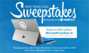 Mailbirds New Years Microsoft Surface 3 Sweepstakes