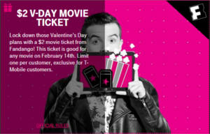 $2 V-Day Movie Ticket from Fandango