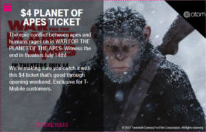 $4 PLANET OF APES TICKET