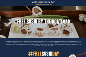 P.F. Chang's FREE Sushi Day 2017