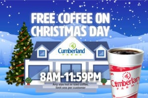 FREE Coffee at Cumberland Farms on Christmas