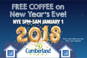 FREE Coffee at Cumberland farms on New Years Eve