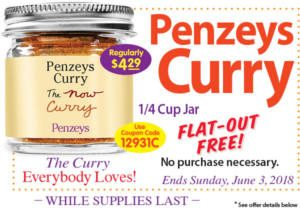 FREE 1/4 Cup Jar of Curry at Penzeys