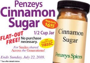 FREE Cinnamon Sugar at Penzeys Spices Stores