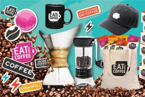 Eat Your Coffee Bars Stickers, Tote Bag, Socks, Hats and More!